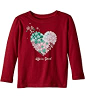 Life is Good Kids Snowflake Heart Long Sleeve Crusher Tee (Toddler)