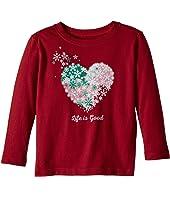 Life is Good Kids - Snowflake Heart Long Sleeve Crusher Tee (Toddler)