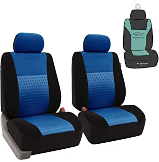 FH Group FB060102 Trendy Elegance Pair Set Bucket Car Seat Covers, (Airbag Compatible) w. Gift, Blue/Black Color-Fit Most Car, Truck, SUV, or Van