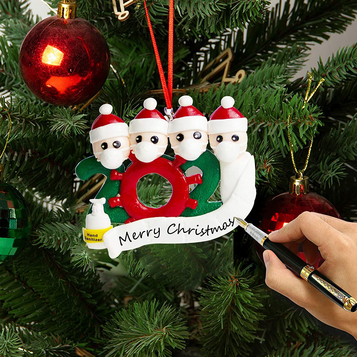 2 Person Christmas Ornaments 2020 Quarantine Survivor Family Ornaments Christmas Party DIY Xmas Decoration Gift Personalized Family Members