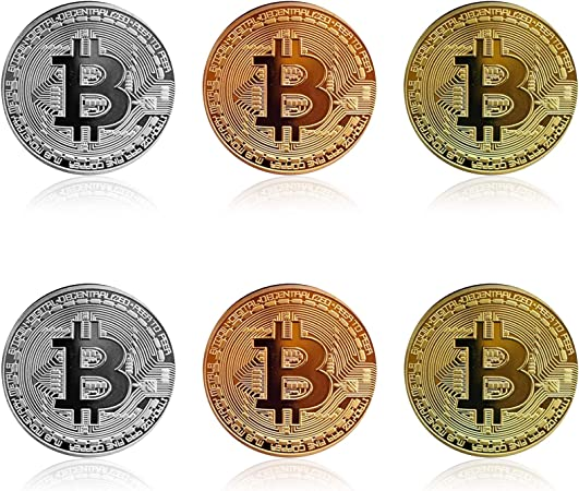 6Pcs Bitcoin - Gold Silver Bronze Physical Bit Coin Blockchain Cryptocurrency Commemorative Tokens | Chase Coin | BTC Collector | Business Gift April Fools' Day