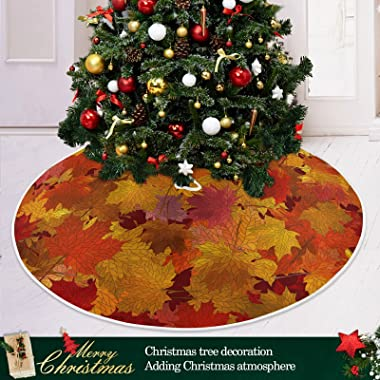 Maple Autumn Leaves Christmas Tree Skirt 48 Inch,Fall Tree Skirt Xmas Tree Floor Door Mat for Thanksgiving Party Decoration D