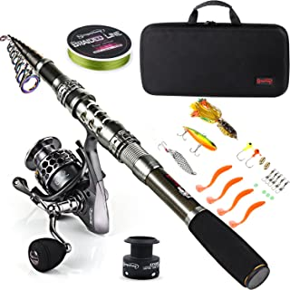 Sougayilang Telescopic Fishing Rod Reel Combos with Carbon Fiber Fishing Pole Spinning Reels and Fishing Accessories for T...