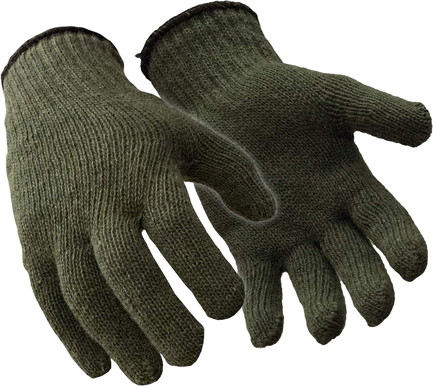 RefrigiWear Military Style Ragg Wool Glove Liners, Green - PACK OF 12 PAIRS