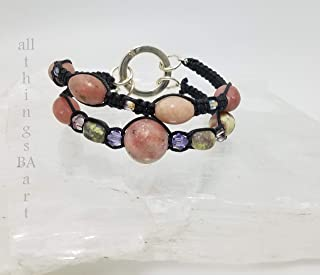 Genuine Lepidolite mix & match stacking bracelet set by All Things BA Art