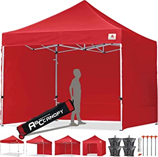 ABCCANOPY Canopy Tent 10x10 Pop Up Canopy Tent Commercial Instant Shade Tent with Upgrade Roller Bag (Red Canopy with Walls)