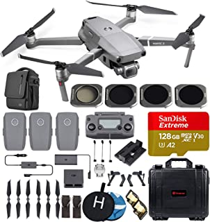 DJI Mavic 2 Pro (20 MP Hasselblad Camera) Ultimate Bundle (3 Batteries, Waterproof Hard Case, 4 ND Filters, 128 GB Extreme microSD Card, Charging Hub and More)