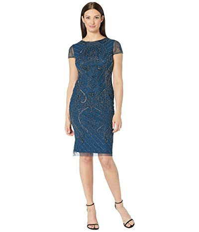 Adrianna Papell Short Sleeve Beaded Cocktail Dress (Deep Blue) Women