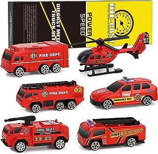XDDIAS Camión de Bombero de Juguete, 6 Pcs Mini Diecast Vehículos de Bomberos, Aleación Modelo Vehículo de Juguete Helicóptero Coche Patrulla Regalo para Niño Navidad Cumpleaños 3 Años