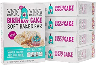 Zee Zees Birthday Cake Soft Baked Snack Bars, Nut-Free, Whole Grain, Naturally Colored and Flavored, 1.3 oz, 30 pack