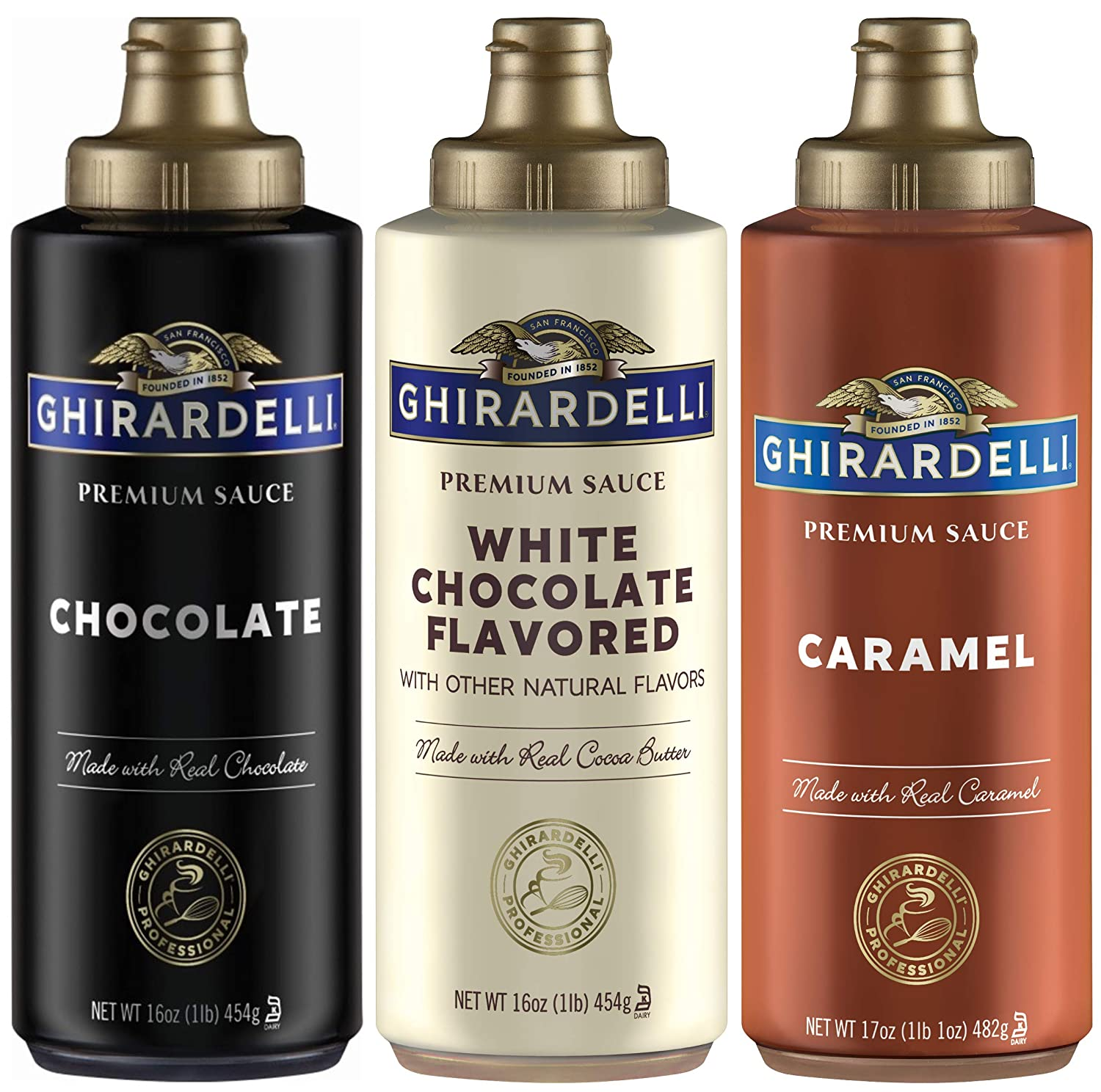 Ghirardelli Squeeze Bottles - Caramel, Chocolate & White Chocolate