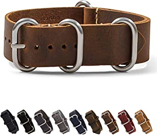 Benchmark Basics Leather Watch Band - Zulu Crazy Horse Oiled NATO Strap - 18mm, 20mm, 22mm & 24mm - 7 Colors