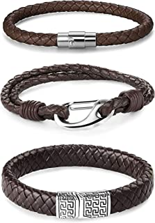 Jstyle 3Pcs Stainless Steel Braided Leather Bracelet for Men Women Brown Leather Wrist Band Cuff Bangle Bracelet Magnetic Clasp 8.5 inches
