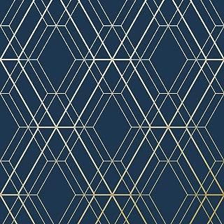 Metro Diamond Geometric Wallpaper - Navy Blue and Gold - WOW003 World of Wallpaper