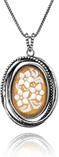 Paz Creations .925 Sterling Silver Vintage Style Cameo Pendant Necklace