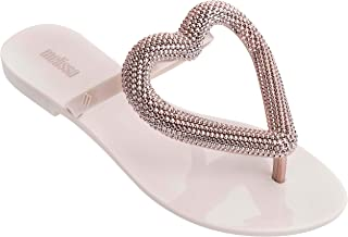 Womens Big Heart Chrome Flip Flop Sandals