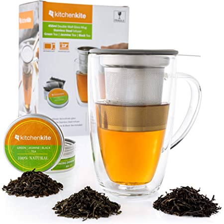 Glass Tea Mug & Cup with Infuser and Lid - Gift Set - 16oz Borosilicate Double Wall Brewing Tea Cup for Loose Leaf Tea with Removable Stainless Steel Infuser - Jasmine, green and black tea Included