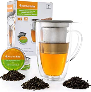Glass Tea Mug & Cup with Infuser and Lid - Gift Set - 16oz Borosilicate Double Wall Brewing Tea Cup for Loose Leaf Tea wit...