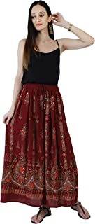Crocon Women's Sequence Rayon Long Skirt Jaipuri Art Work Flared Handcrafted Embroidered Skirt