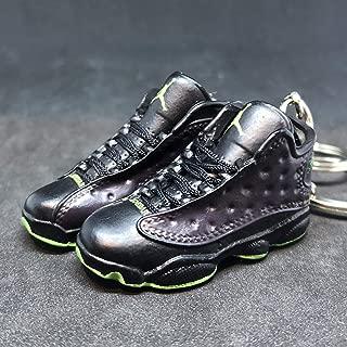 Pair Air Jordan XIII 13 Retro Altitude Black Green OG Sneakers Shoes 3D Keychain 1:6 Figure