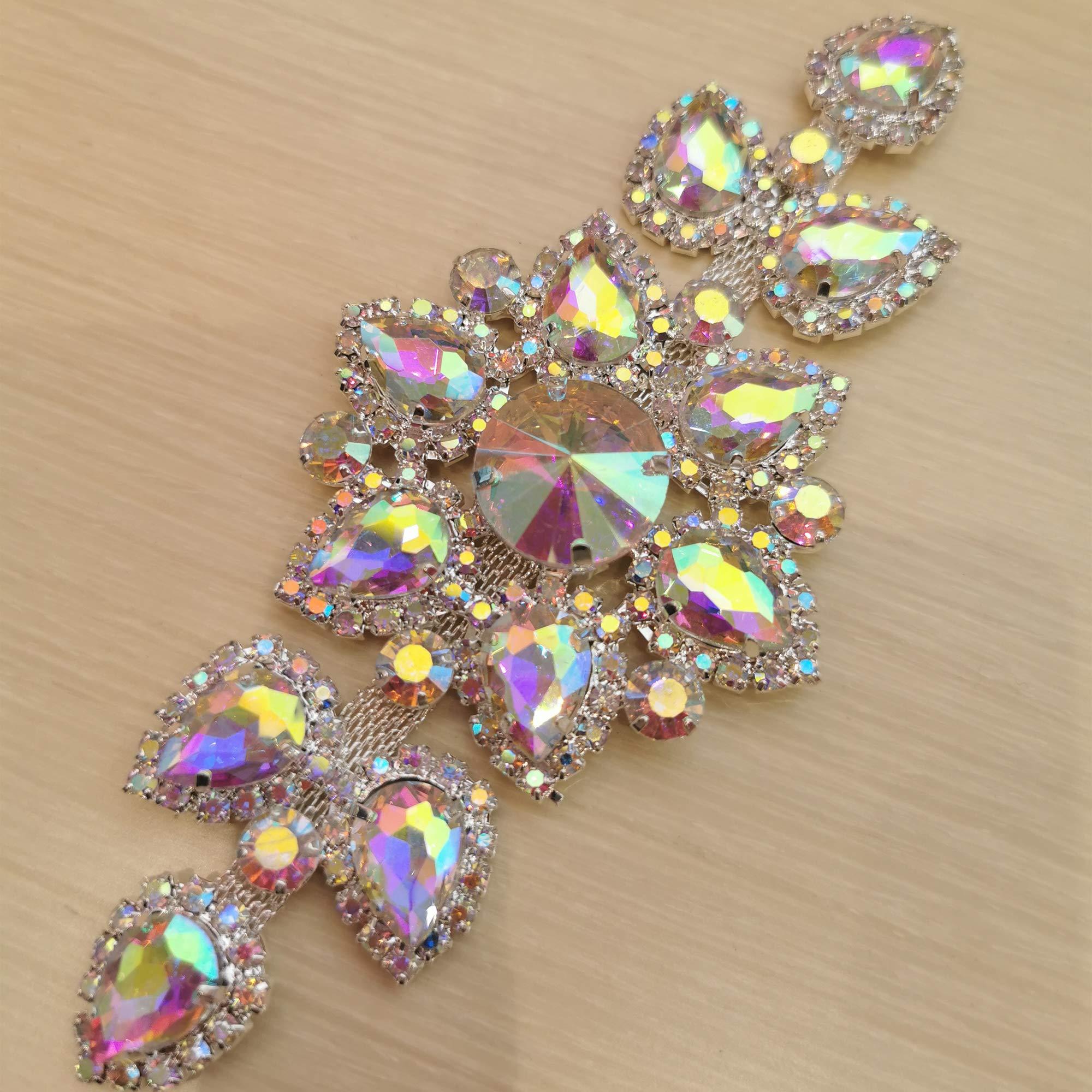 Crystal AB Rhinestones Belt Applique for Wedding Garters Clothes Sew On Bridal Rhinestone Applique for Wedding Evening Dress 13 x 6 cm Crystal AB - Silver Base, 5.12 x 2.36 inches /