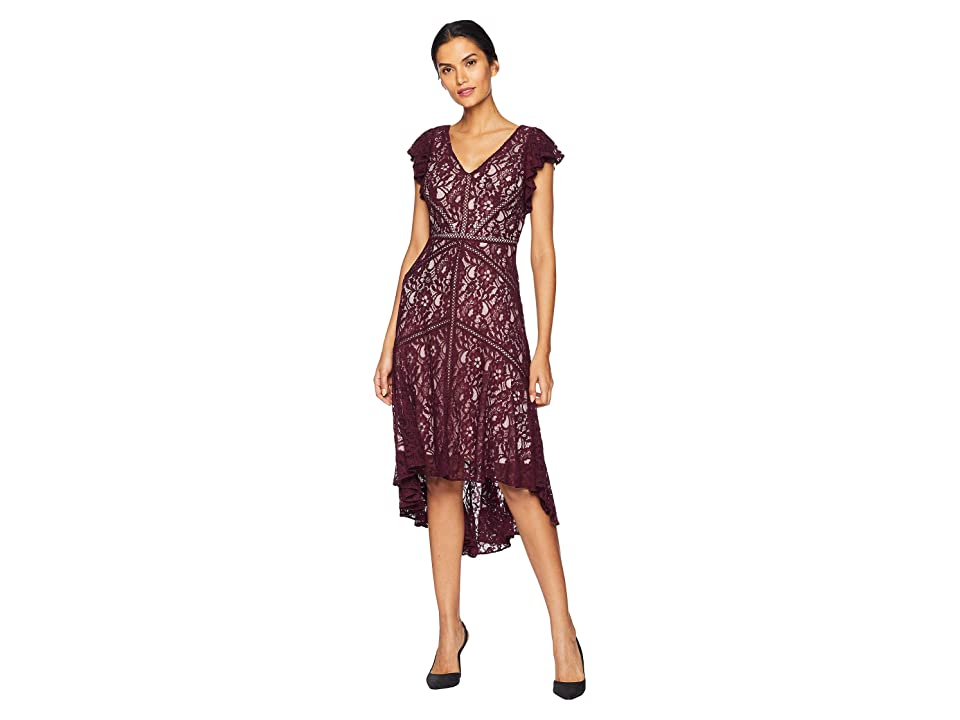 Taylor Lace Flutter Sleeve Dress (Burgundy) Women