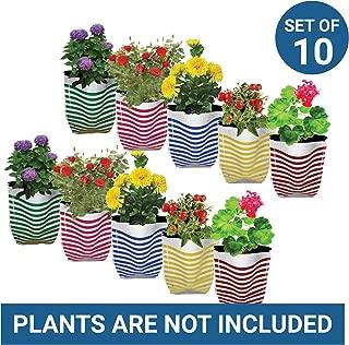 Trust Basket Stripe Grow Bags (Multicolour, Pack of 10)