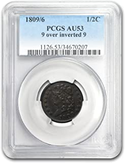1809/6 Half Cent 9 Over Inverted 9 AU-53 PCGS (Brown) Cent AU-53 PCGS
