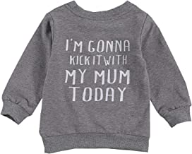 Baby Boy Girl Words Kick My Mum Print On The Back Sweatshirt Pullover Casual Long T-Shirt Tops Fall Winter Outfit