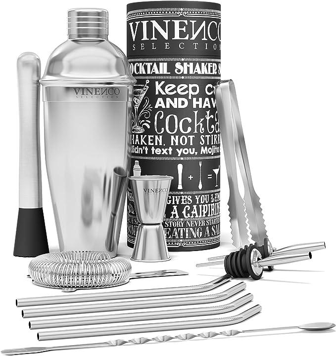 1853 opinioni per Shaker Cocktail Set Professionale + eBook di Ricette | Kit Barman Completo,