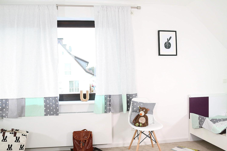 ULLENBOOM ® Patchwork Vorhänge Kinderzimmer Kinderzimmer Kinderzimmer 140x170 cm Mint Grau (Babyzimmer Gardinen aus Baumwolle, 2 Schals mit Tunnelzug, Motiv  Sterne, Punkte) B07P58321R 3ecddf