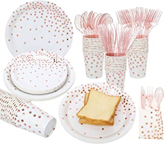 Gexolenu, White and Rose Gold Paper Plates and Napkins Set Party Supplies, 25 sets X 7 items, Gold Dot Disposable Party Decorations, including Plates, Napkins,Cups, Forks Knives and Spoons