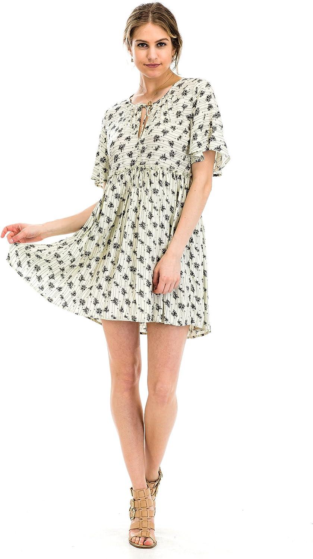 4dd5ff6546b Malibu Days Women's Comfy Swing Floral Print Tunic Short Sleeve Loose Dress
