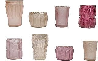 Creative Co-Op Mercury Glass Tealight Holder Set, Cream and Taupe