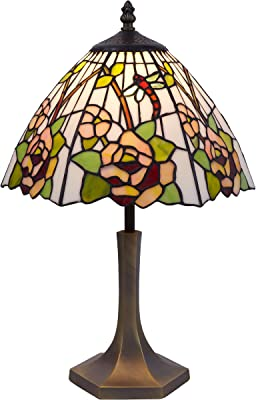 Ivintage 430843 Lámpara de sobremesa Tiffany, Verre Opale étamé, E27, Multicolore, 30 x 30 x 50 cm