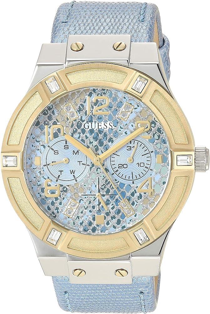 Guess,orologio da donna, in acciaio lucido e satinato e lunetta ip oro con cristalli,cinturino in pelle W0289L2