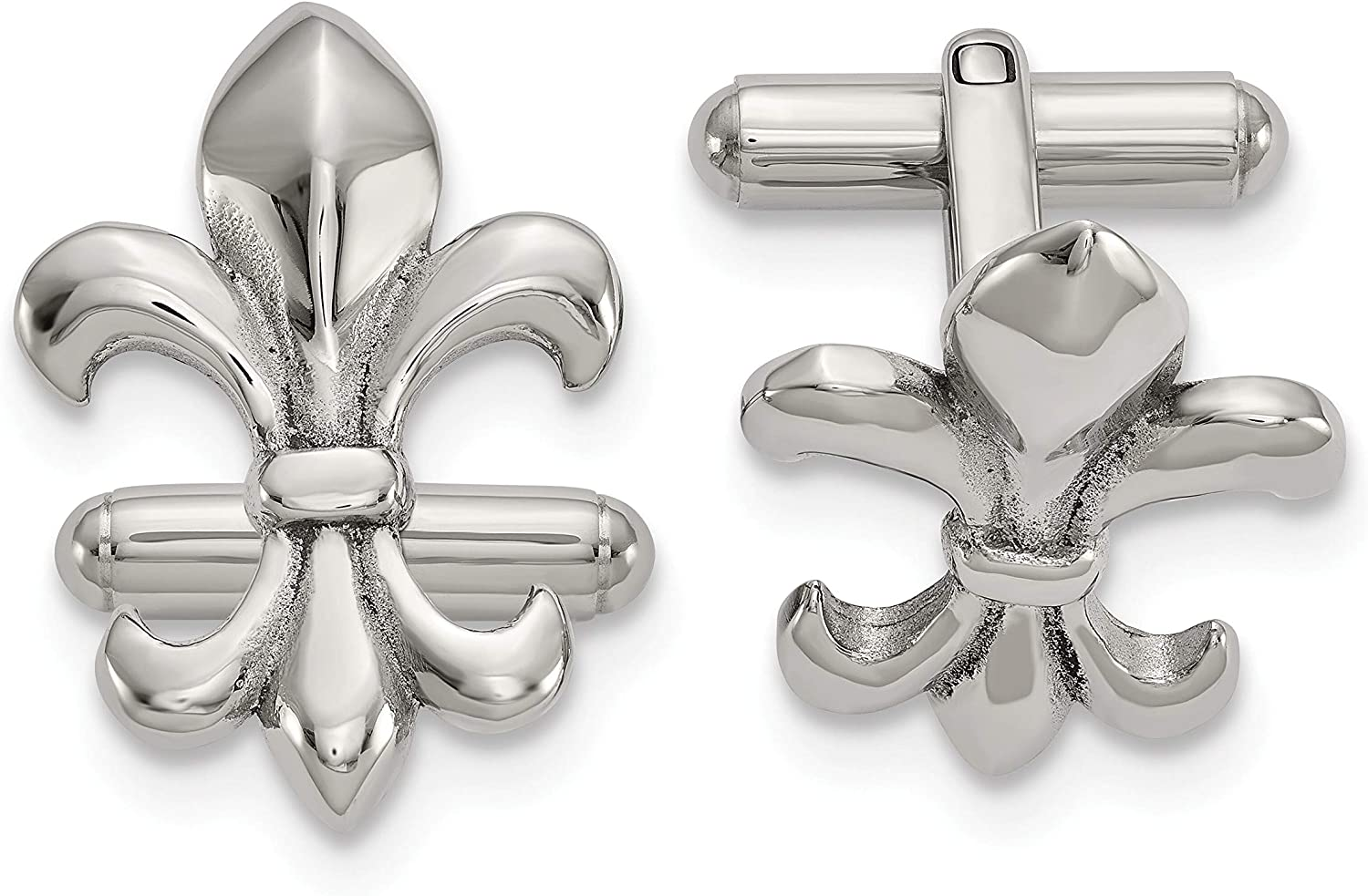 Stainless Steel Polished De Lis Cuff Links White Men's