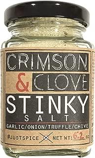 Stinky Salt (Sea Salt with garlic, onion, chive and black truffle) by Crimson and Clove (5.2 oz. glass spice jar)