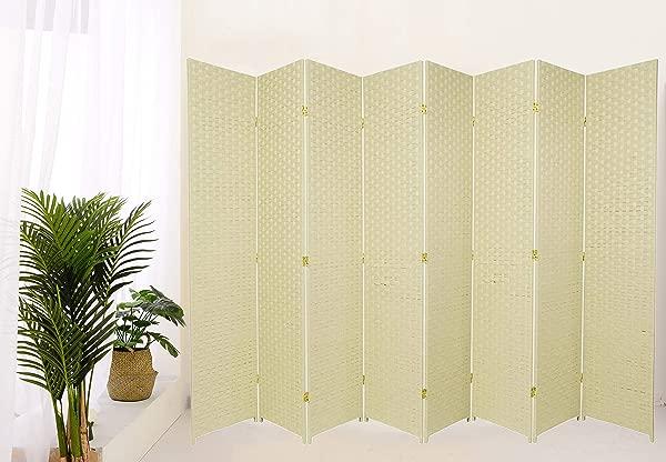 遗产装饰编织设计纤维房间隔断 8 面板象牙
