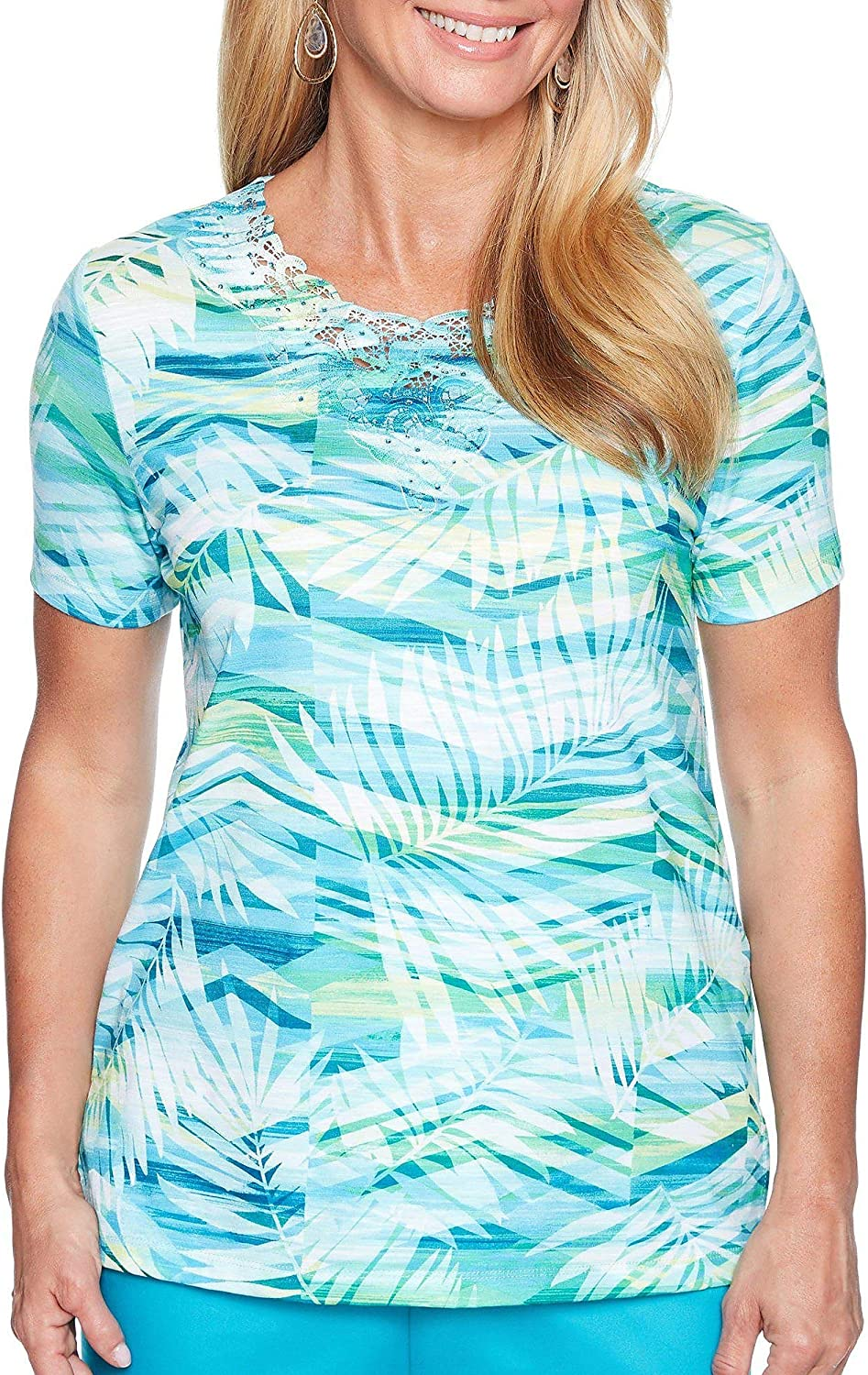 Alfred Dunner Women's Scottsdale Abstract Leaf Top