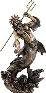 Top Collection Poseidon Holding Trident Statue- Greek God of the Sea, Earthquakes, and Horses Sculpture in Premium Cold Cast Bronze - 11-Inch Collectible Roman Neptune Figurine