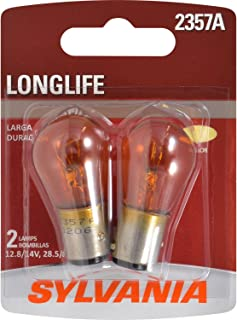 SYLVANIA - 2357A Long Life Miniature - Amber Bulb, Ideal for Park and Turn Lights (Contains 2 Bulbs)