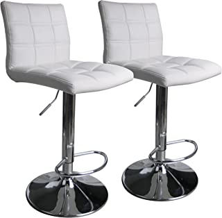 Leopard Square Back Adjustable Swivel Bar Stools,PU Leather Padded with Back, Set of 2 (White)