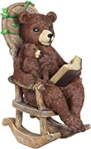 Exhart Solar Bears Reading a Book Garden Statue - Hand-Painted Resin Statue of a Bear and Bear Cub Reading a Storybook on a Rocking Chair - Cute Bear Decor w/Solar LED Accent Lights, 12 Inches