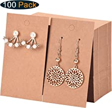 Xpurc 100PCS Earring Display Cards with 5 PCS Drawstring Bags for Jewelry, Earrings, Ear Studs Holder Blank Kraft Paper Tags for DIY, 3-1/2'' x 2''(Brown)