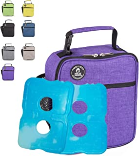 Healthy Packers Insulated Lunch Box for Adults and Kids w/ 2 Slim Long Lasting Ice Packs - Professional Work Lunch Bag for Men and Women - Heavy Duty School Lunchbox for Boys and Girls (Purple)