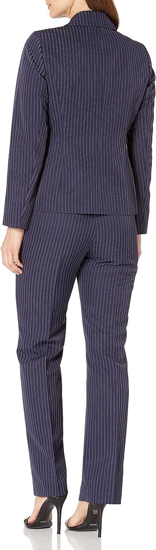 Le Suit Women's 1 Button Notch Collar Dobule Pinstripe Pant Suit