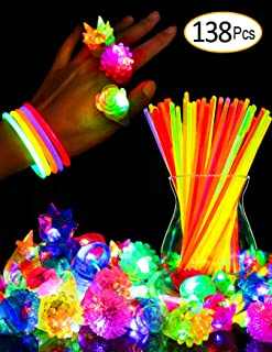 SIONE 138 Pack Glow Sticks Bulk Light Up Rings Party Favor for Kids Glow in The Dark Party Supplies 38 Flashing Glow Rings+100 Glow Sticks