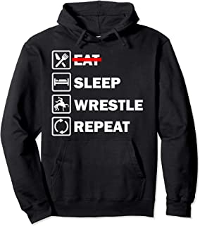 Eat Sleep Wrestle Repeat Hoodie. Funny Wrestling Hoodie.