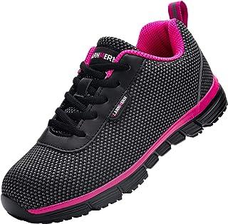 Zapatillas de Seguridad Mujer,S1/SBP SRC Anti-Estático/Anti-Punción Anti-Deslizante Ultra Liviano Transpirable Zapatos de ...